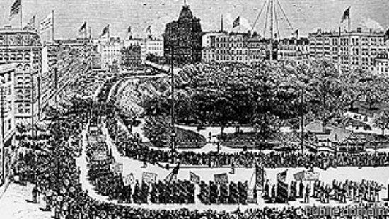 Ilustración de la marcha de trabajadores en Nueva York el 5 de septiembre de 1882.