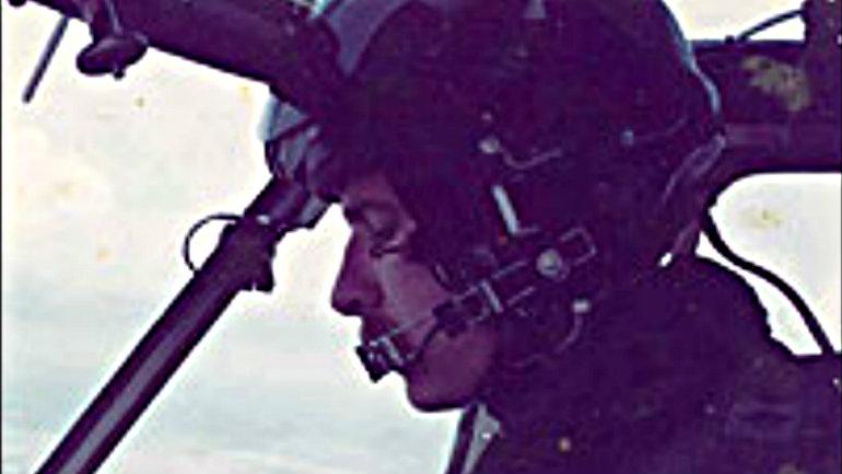 Richard Hutchings flying the Sea King