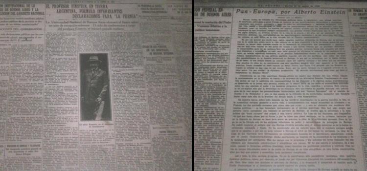 """Con el diario La Prensa, Einstein tuvo un estrecho vínculo, al punto tal que visitó su redacción y publicó un artículo titulado """"Pan Europa"""", a favor de la unión europea (Fuente: Hemeroteca de la Legislatura de la Ciudad de Buenos Aires)."""