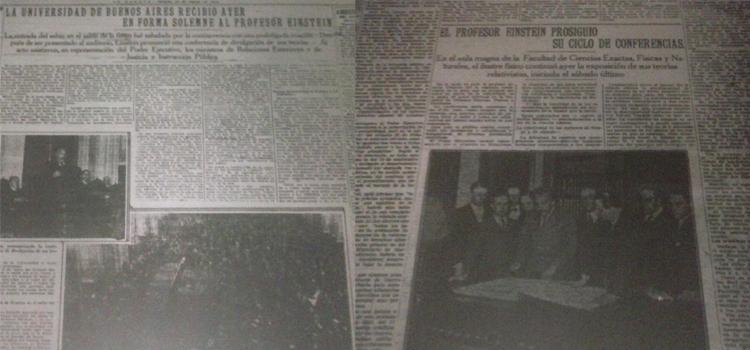 La visita de Einstein recibió una gran cobertura de los medios gráficos. En la imagen, ejemplares del diario la Prensa (Fuente: Hemeroteca de la Legislatura de la Ciudad de Buenos Aires).