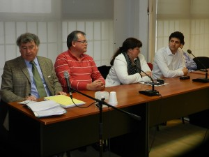 Abogado Fabian Gabalachi, Omar Albornoz, Gabriela Doufur, Santiago Novoa y, al fondo Valentín Laborda