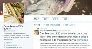 """""""Twitter de las Presidencias de Néstor y Cristina - 25 de mayo de 2003 al 10 de diciembre de 2015"""", dice la biografía."""