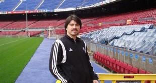 Martín Báez, en el Camp Nou, en Barcelona. Foto: Facebook
