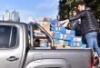 La camioneta cargada con las cajas, cuando llegaba a Comodoro Py
