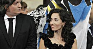 Rocío García y Máximo Kirchner en 2011 durante la asunción de la ex Presidenta